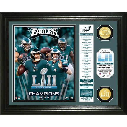 Eagles Super Bowl LII Champs Banner Bronze Coin Photo Mint (PHOTO11918K)
